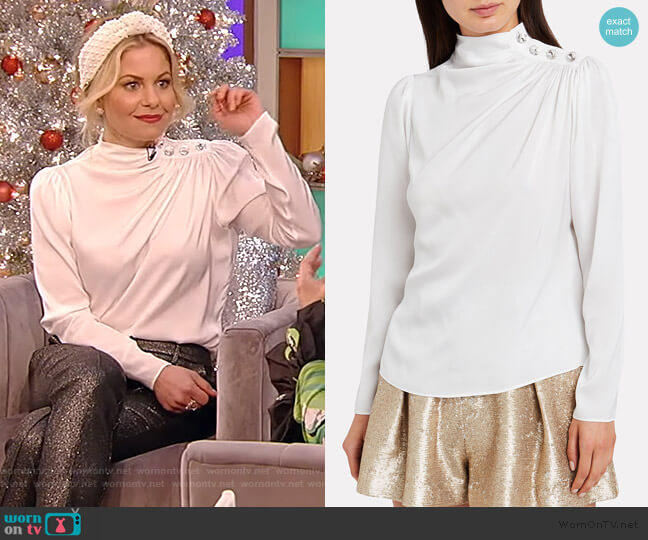Charity Embellished Silk Blouse by Intermix worn by Candace Cameron Bure on the Tamron Hall Show