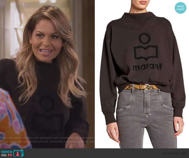 Moby Textured Logo Pullover Sweatshirt by Etoile Isabel Marant worn by DJ Tanner-Fuller (Candace Cameron Bure) on Fuller House