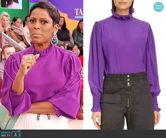 Yoshi Puff Sleeve Top by Isabel Marant Etoile worn by Tamron Hall  on Tamron Hall Show