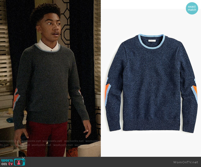 J. Crew Kids' cotton crewneck sweater with lightning bolts worn by Jack Johnson (Miles Brown) on Blackish