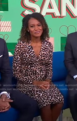 Janai's leopard print surplice dress on Good Morning America