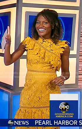 Janai's yellow floral lace dress on Good Morning America