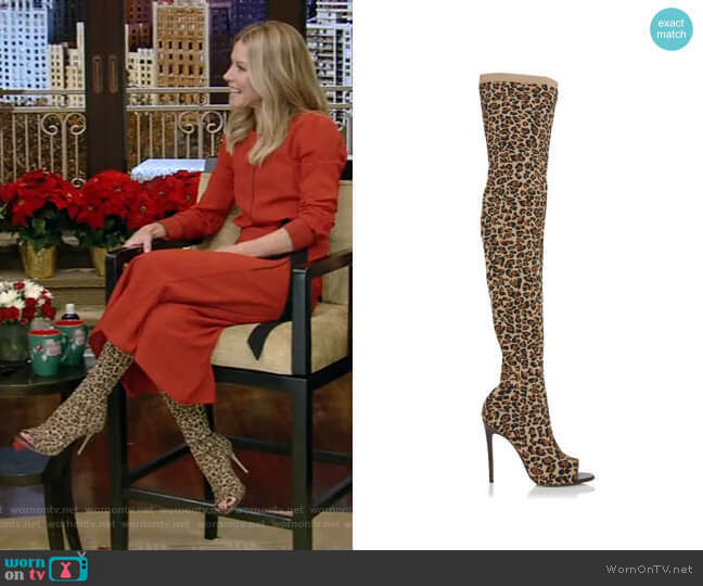 Jasmine Leopard-Print Stretch-Knit Thigh Boots by Victoria Beckham worn by Kelly Ripa  on Live with Kelly & Ryan