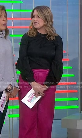 Jenna's black houndstooth blouse and pink corduroy pants on Today