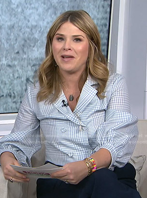 Jenna's blue checked double breasted blouse on Today