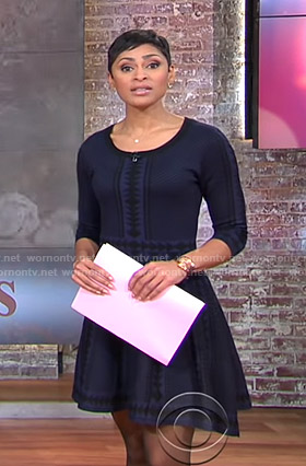 Jericka's navy geometric print fit and flare dress on CBS This Morning