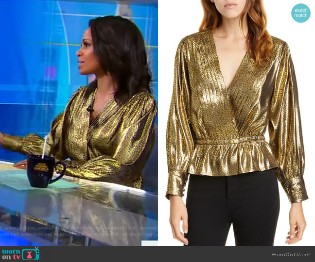 Nadeen Metallic Pleated Faux-Wrap Blouse by Joie worn by Adrienne Bankert  on Good Morning America