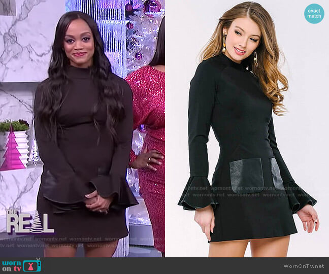 Bell Sleeve Modern Dress by Jovani worn by Rachel Lindsay on The Real