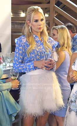 Kameron's blue dog print blouse and feather skirt on The Real Housewives of Dallas