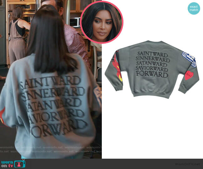Kids See Ghosts sweatshirt by Kanye West worn by Kim Kardashian  on Keeping Up with the Kardashians