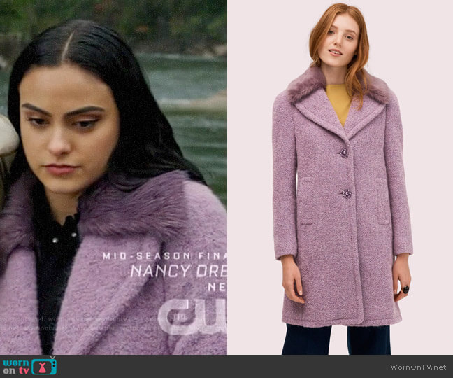 Kate Spade Faux Fur Lapel Coat in Purple Shade worn by Veronica Lodge (Camila Mendes) on Riverdale