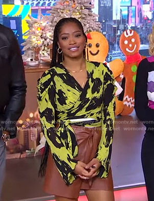 Keke's black and yellow printed wrap top on GMA Strahan Sara And Keke