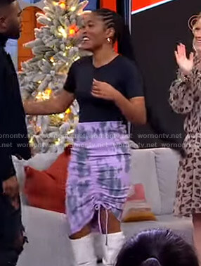 Keke's purple tie dye ruched skirt on GMA Strahan Sara And Keke