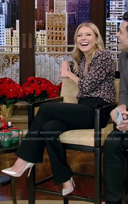 Kelly's black printed blouse and trousers on Live with Kelly and Ryan