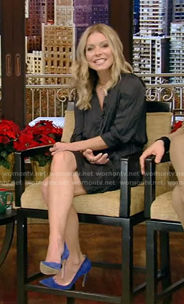 Kelly's black satin shirtdress on Live with Kelly and Ryan