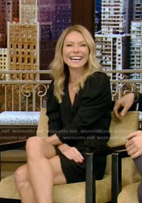 Kelly's black wrap mini dress on Live with Kelly and Ryan