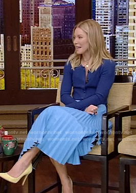 Kelly's blue cardigan and pleated skirt on Live with Kelly and Ryan
