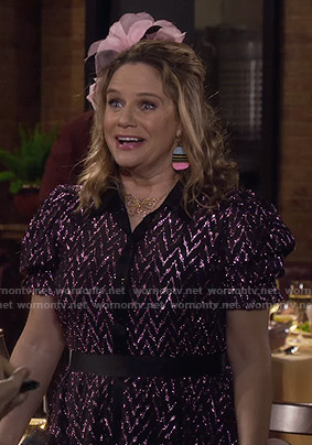 Kimmy's metallic zig-zag shirtdress on Fuller House