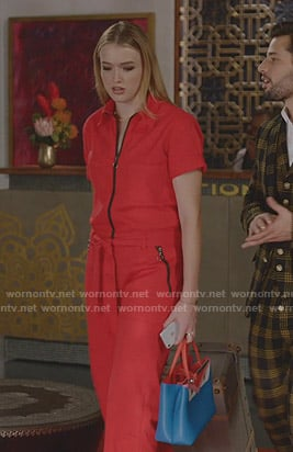 Kirby's red zip front jumpsuit on Dynasty