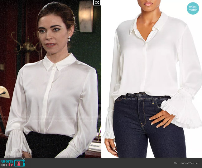 Kobi Halperin Hana Blouse worn by Victoria Newman (Amelia Heinle) on The Young & the Restless