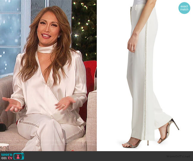 Janelle Embellished Flare Trousers by Kobi Halperin worn by Carrie Inaba  on The Talk