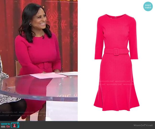 Belted Crepe Dress by Oscar de la Renta worn by Kristen Welker  on Today
