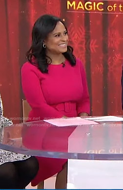 Kristen Welker's pink belted flare dress on Today