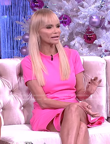 Kristin Chenoweth's pink embellished short sleeve mini dress on The Real