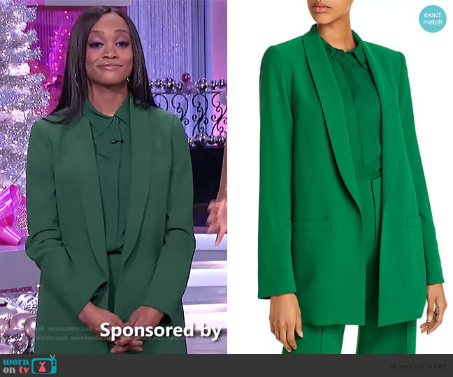 Willa Placket Top Dylan Pants and Kylie Shawl Blazer by Alice + Olivia worn by Rachel Lindsay on The Real