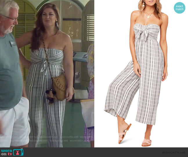 Strapless Riri Wide Leg Jumpsuit by L Space worn by Emily Simpson  on The Real Housewives of Orange County