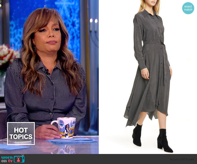 Directional Stripe Belted Long Sleeve Silk Shirtdress by La Ligne worn by Sunny Hostin  on The View