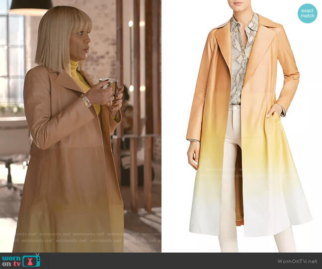 Avrielle Ombré Leather Trench Coat by Lafayette 148 New York worn by Giselle (Nicole Ari Parker) on Empire
