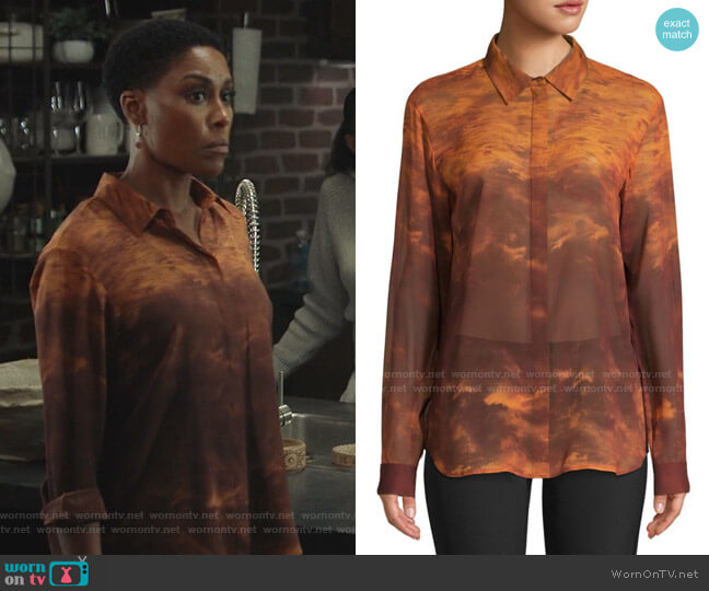 Zora Sunset Sky Silk Blouse by Lafayette 148 New York worn by Lynn Stewart (Christine Adams) on Black Lightning