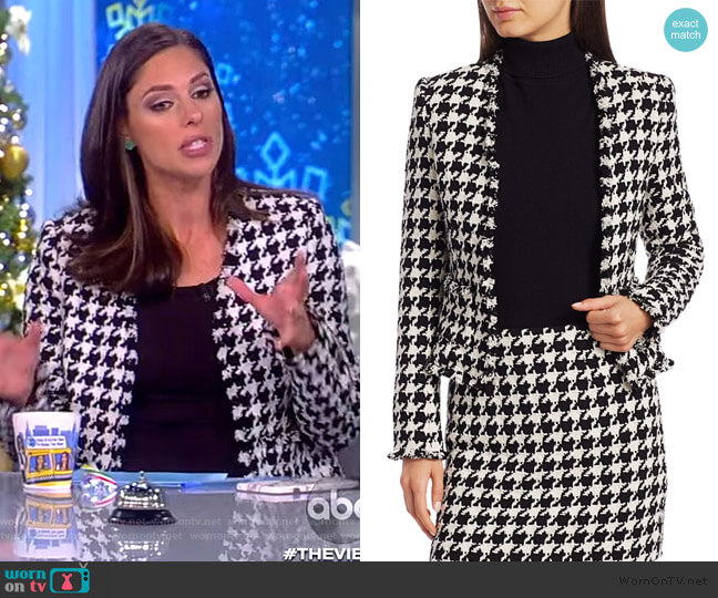 Adette Tweed Houndstooth Jacket by L'Agence worn by Abby Huntsman  on The View