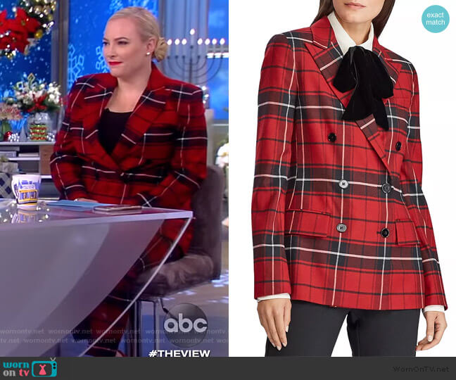 Plaid Double-Breasted Blazer by Lauren Ralph Lauren worn by Meghan McCain  on The View