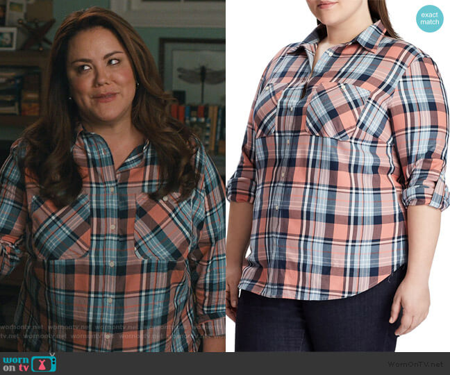 Plus Relaxed-Fit Plaid Cotton Button-Down Shirt by Lauren Ralph Lauren worn by Katie Otto (Katy Mixon) on American Housewife