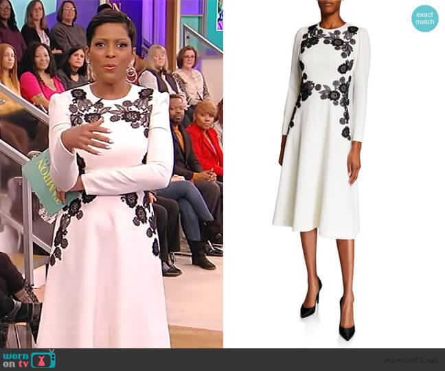 Lace-Embroidered A-Line Dress by Lela Rose worn by Tamron Hall  on Tamron Hall Show