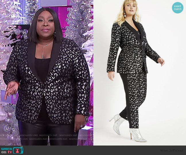 Leopard Brocade Blazer by Eloquii worn by Loni Love  on The Real