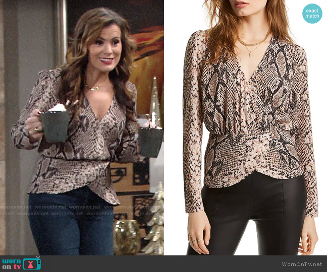 Lini Alexandra Snake Print Wrap Top worn by Chelsea Lawson (Melissa Claire Egan) on The Young & the Restless