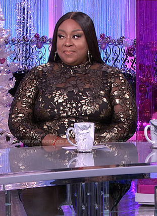 Loni's metallic floral dress on The Real