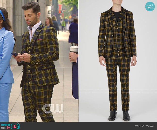 Checked Jacket and pants by Lords and Fools worn by Sam Flores (Rafael de la Fuente) on Dynasty
