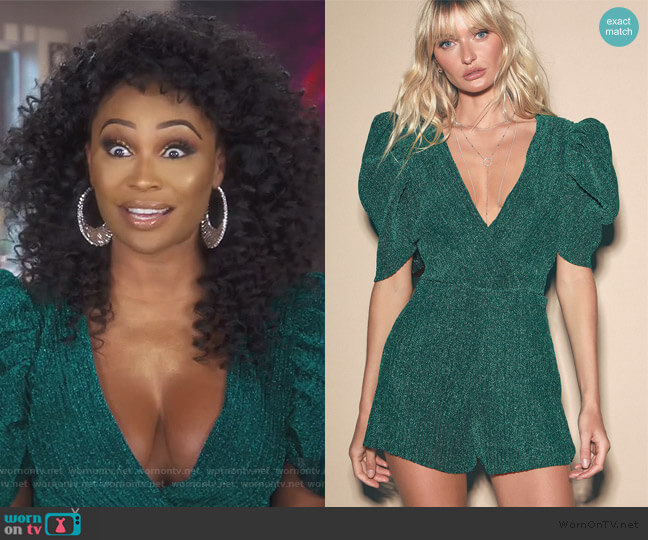 Evening Out Teal Green Metallic Pleated Romper by Lulus worn by Cynthia Bailey  on The Real Housewives of Atlanta