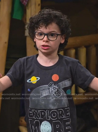 Matteo's black Explore More print tee  on Bunkd