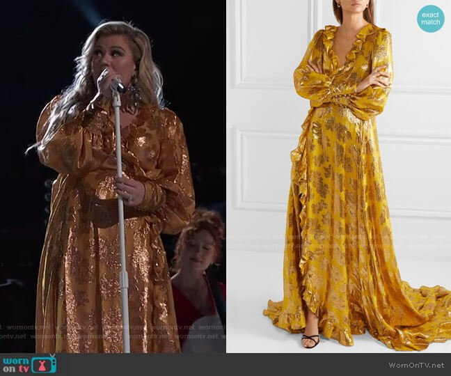 Ruffled Metallic Jacquard Wrap Gown by Monique Lhuillier worn by Kelly Clarkson  on The Voice