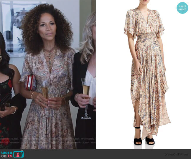 Rachel Smocked Paisley-Print Maxi Dress by Maje worn by Sherri Saum on Good Trouble