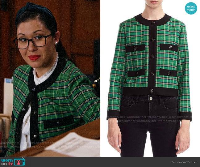 Maje Vivert Plaid Jacket  worn by Sherri Kansky (Ruthie Ann Miles) on All Rise