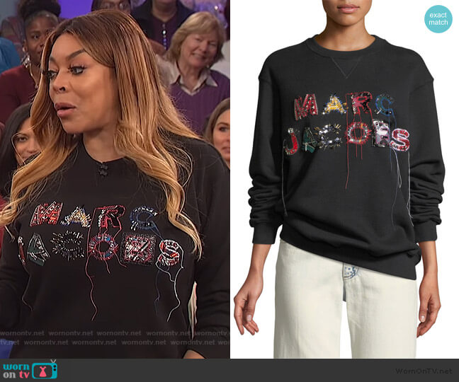 Embellished Logo Crewneck Sweatshirt by Marc Jacobs worn by Wendy Williams  on The Wendy Williams Show