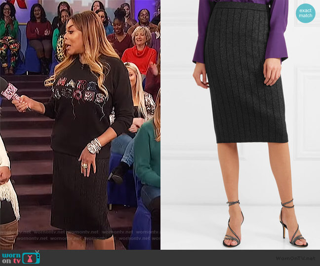 Ribbed stretch-Lurex pencil skirt by Marc Jacobs worn by Wendy Williams  on The Wendy Williams Show