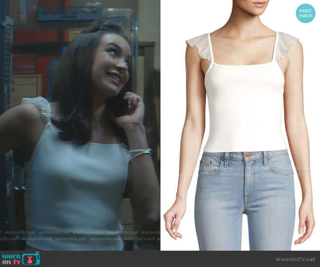 Marg Ruffle-Strap Crop Top by Alice + Olivia worn by Bess (Maddison Jaizani) on Nancy Drew