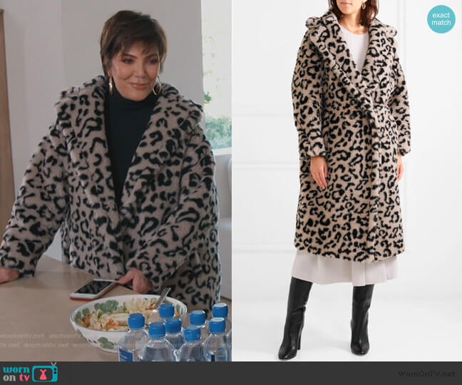 Oversized leopard-print faux fur coat by Max Mara worn by Kris Jenner  on Keeping Up with the Kardashians